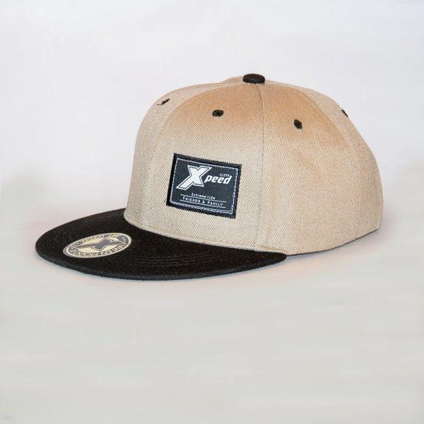 Xpeed Brand gorra plana beige vicera negra snap cap