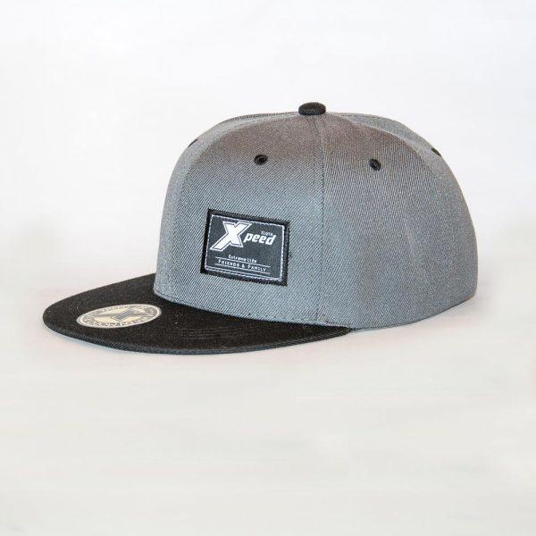 Xpeed Brand gorra plana gris vicera negra snap cap