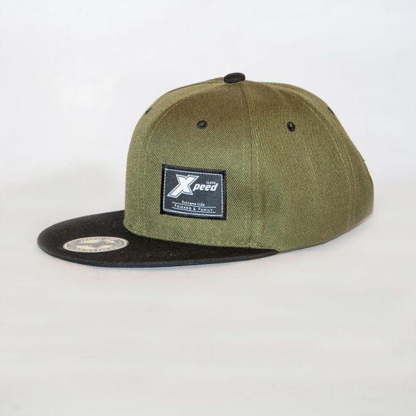 Xpeed Brand gorra plana verde vicera negra snap cap